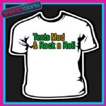 TENTS MUD & ROCK N ROLL FUNNY MENS LADS HOLIDAY FESTIVAL CLUBBING SLOGAN TSHIRT